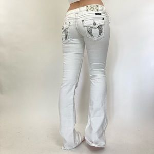 Vintage Y2K White Miss Me Embroidered Low Rise